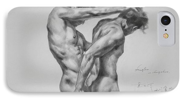 Original Drawing Sketch Charcoal Male Nude Gay Interest Man Art Pencil On Paper -0035 IPhone Case by Hongtao     Huang