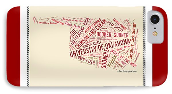 Oklahoma University iPhone 7 Case - Ou Word Art University Of Oklahoma by Roberta Peake