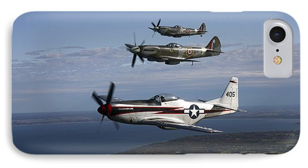 P-51 Cavalier Mustang With Supermarine Phone Case by Daniel Karlsson