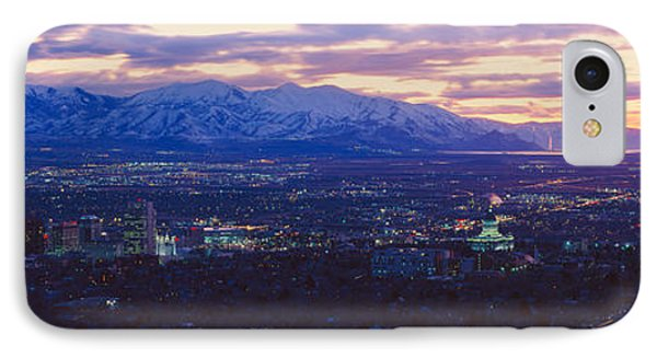 Panoramic Sunset Of Salt Lake City IPhone Case by Panoramic Images