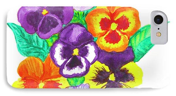 Pansies, Watercolour Painting IPhone Case by Irina Afonskaya