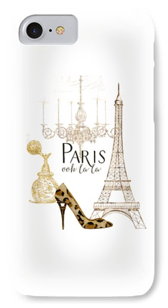 Paris iPhone 7 Case - Paris - Ooh La La Fashion Eiffel Tower Chandelier Perfume Bottle by Audrey Jeanne Roberts