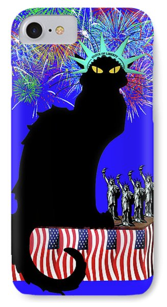 Patriotic Le Chat Noir IPhone Case by Gravityx9 Designs