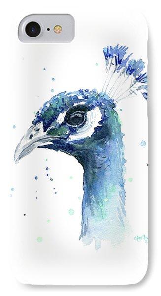 Peacock Watercolor IPhone 7 Case by Olga Shvartsur