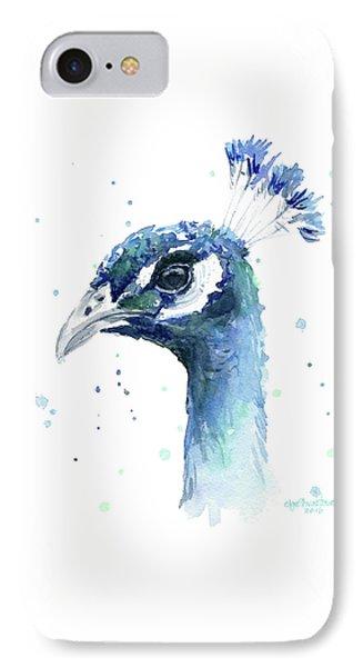 Peacock iPhone 7 Case - Peacock Watercolor by Olga Shvartsur