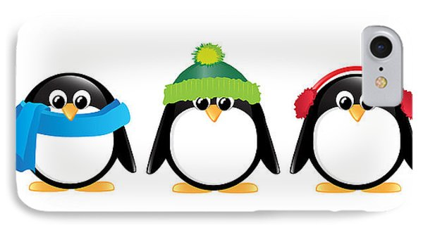 Penguins Isolated Phone Case by Jane Rix