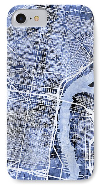 Philadelphia Pennsylvania City Street Map IPhone 7 Case