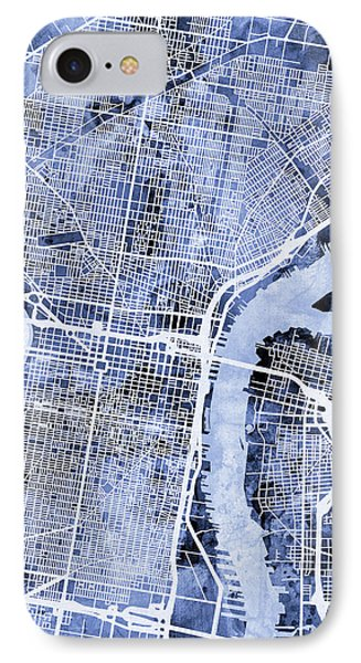 Philadelphia Pennsylvania City Street Map IPhone 7 Case by Michael Tompsett