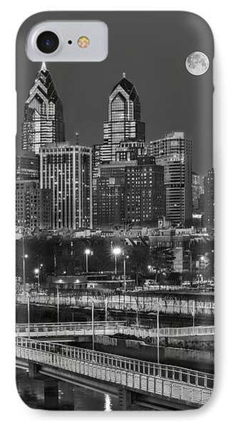 Philly Skyline Full Moon IPhone Case by Susan Candelario