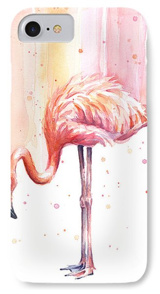 Pink Flamingo Watercolor Rain IPhone 7 Case