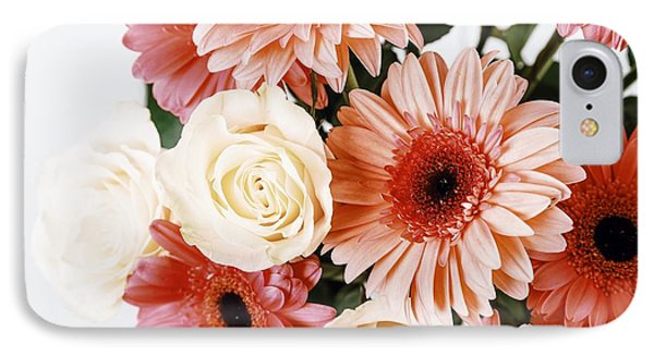 Pink Gerbera Daisy Flowers And White Roses Bouquet IPhone 7 Case by Radu Bercan