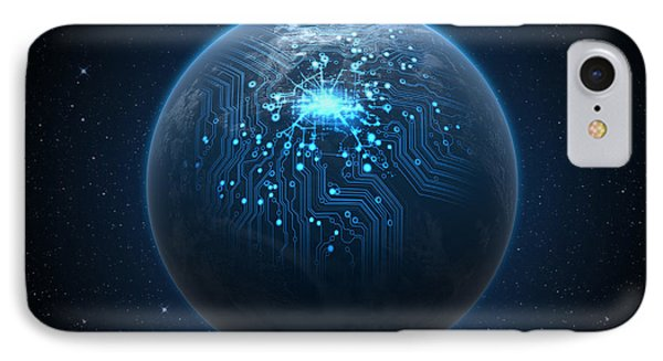 Planet With Illuminated Network IPhone Case