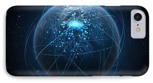 Planet With Illuminated Network And Light Trails IPhone Case by Allan Swart