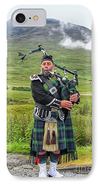 Playing Bagpiper IPhone Case by Patricia Hofmeester