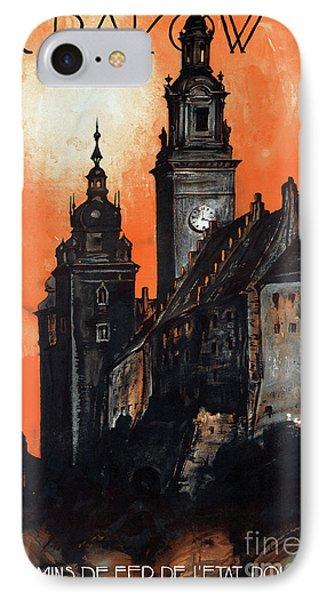 Poland Krakow Vintage Travel Poster Restored Phone Case by Carsten Reisinger