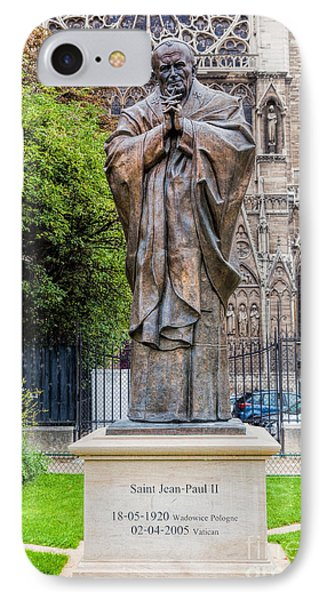 Pope John Paul II Statue Next To Notre Dame Cathedral In Paris, France IPhone Case by Michal Bednarek