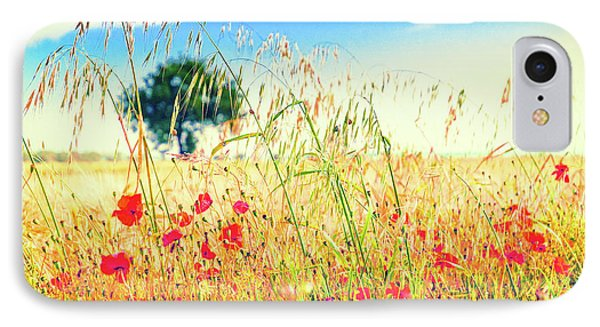 IPhone 7 Case featuring the photograph Poppies With Tree In The Distance by Silvia Ganora
