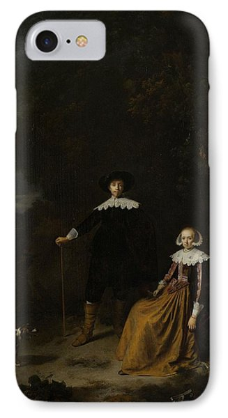 Portrait Of A Couple In A Landscape Phone Case by Gerard Dou