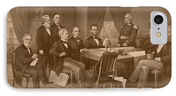President Lincoln - His Cabinet And General Scott IPhone Case by War Is Hell Store
