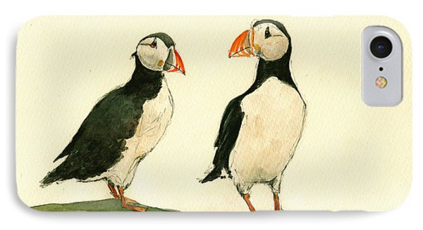 Puffins  IPhone Case by Juan  Bosco