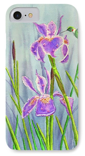 Purple Dutch Iris And Hummer Phone Case by Kathryn Duncan