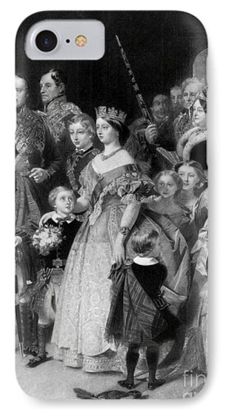 Queen Victoria With Members Of Royal IPhone Case by Science Source
