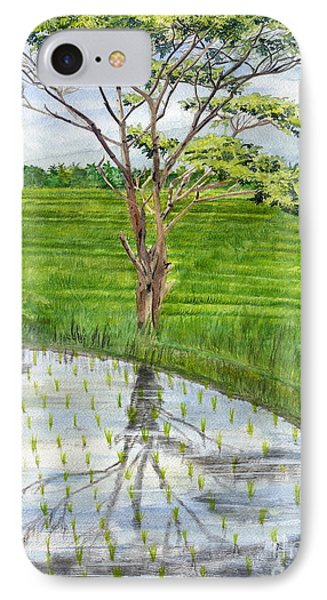 IPhone Case featuring the painting Rain Tree On The Way To Ubud Bali Indonesia by Melly Terpening