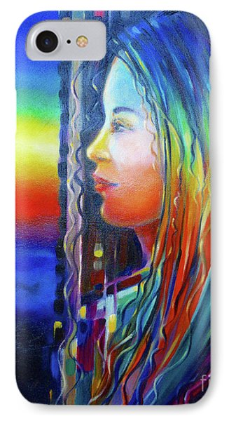 IPhone Case featuring the painting Rainbow Girl 241008 by Selena Boron