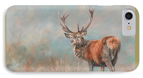 Red Deer Stag IPhone Case by David Stribbling