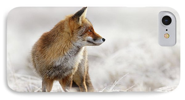Red Fox, White World IPhone Case by Roeselien Raimond