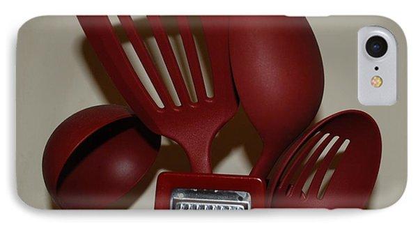 Red Kitchen Utencils Phone Case by Rob Hans