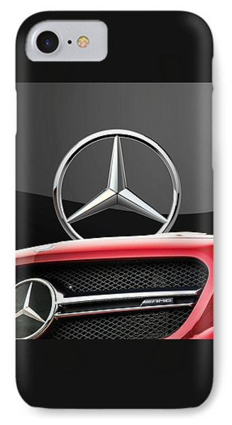 Red Mercedes - Front Grill Ornament And 3 D Badge On Black Phone Case by Serge Averbukh