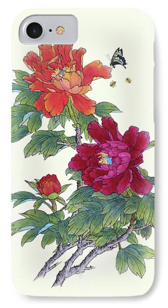 Red Peonies IPhone Case by Yufeng Wang