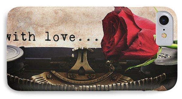 Red Rose On Typewriter IPhone Case by Anastasy Yarmolovich
