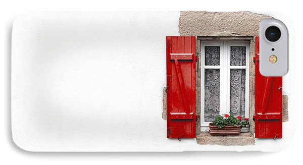 Red Shuttered Window On White IPhone Case by Jane Rix