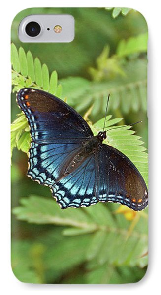 IPhone Case featuring the photograph Red Spotted Purple Butterfly by Sandy Keeton