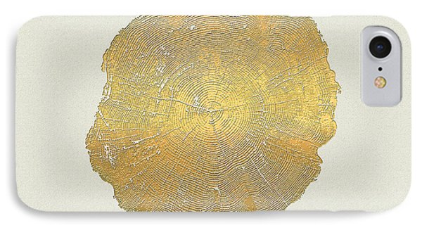 Rings Of A Tree Trunk Cross-section In Gold On Linen  IPhone Case