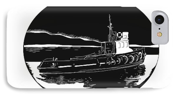 River Tugboat Oval Woodcut IPhone Case