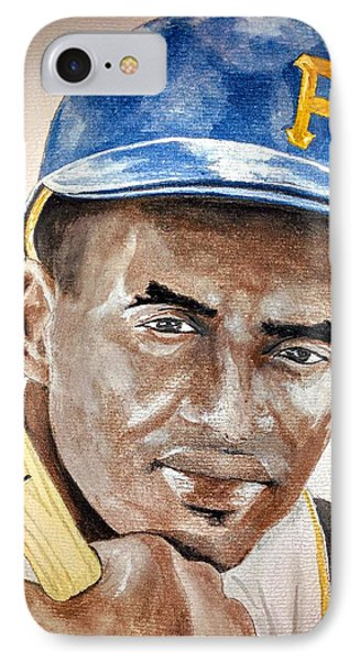 Roberto Clemente - Watercolor Painting IPhone Case