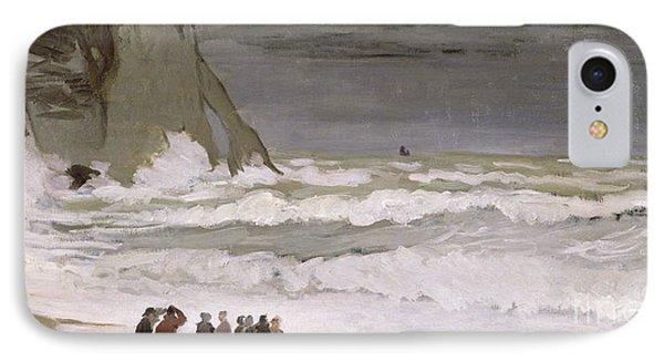 Rough Sea At Etretat IPhone Case by Claude Monet