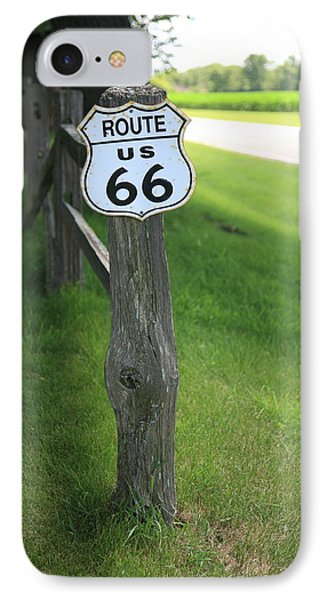 IPhone Case featuring the photograph Route 66 Shield And Fence Post by Frank Romeo