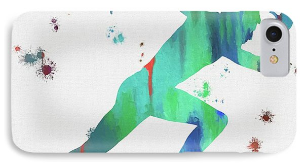 Running Man Paint Splatter IPhone Case by Dan Sproul