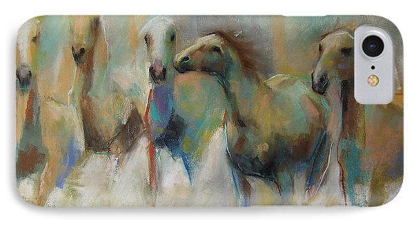 IPhone Case featuring the pastel Running With The Palominos by Frances Marino