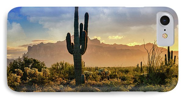 IPhone Case featuring the photograph Saguaro Sunrise In The Superstitions  by Saija Lehtonen