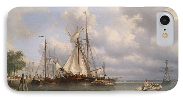 Sailing Ships In The Harbor IPhone Case by Anthonie Waldorp