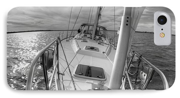 Sailing Yacht Fate Beneteau 49 Black And White IPhone Case by Dustin K Ryan