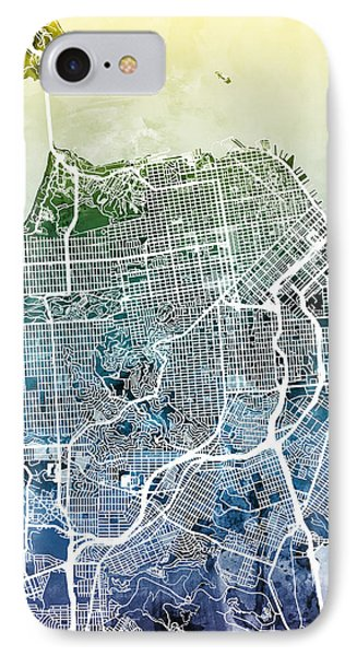 San Francisco City Street Map IPhone Case by Michael Tompsett