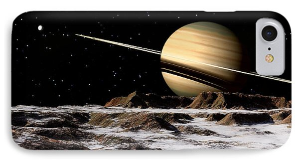 Saturn Seen From The Surface IPhone Case