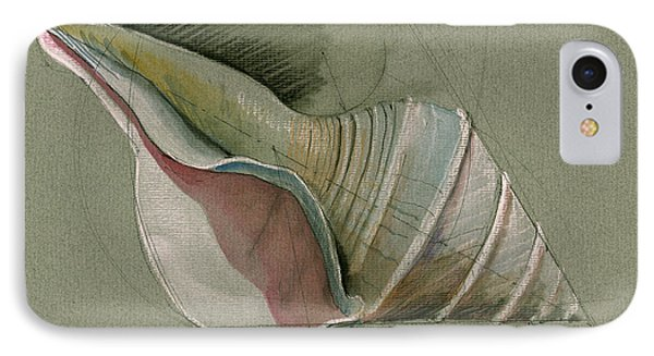 Seashell Art Painting IPhone Case by Juan  Bosco