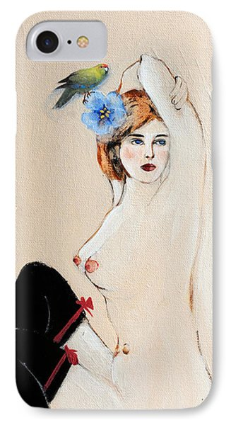 Seated Nude In Black Stockings With Flower And Bird IPhone Case